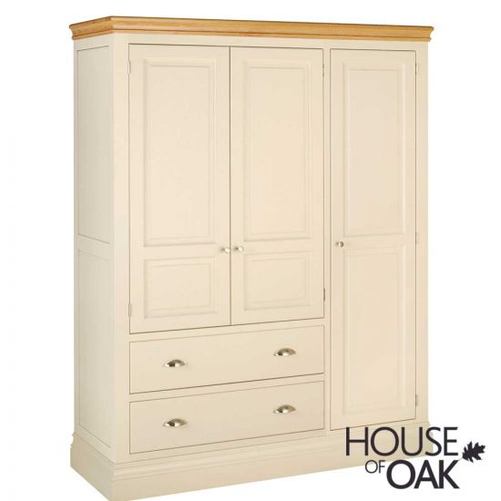 Ambleside Triple Wardrobe with 2 Drawers in Ivory