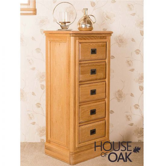 Lyon Oak 5 Drawer Tall Chest of Drawers