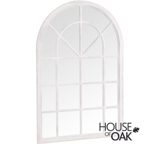 Neptune Small Arched Window Mirror in White
