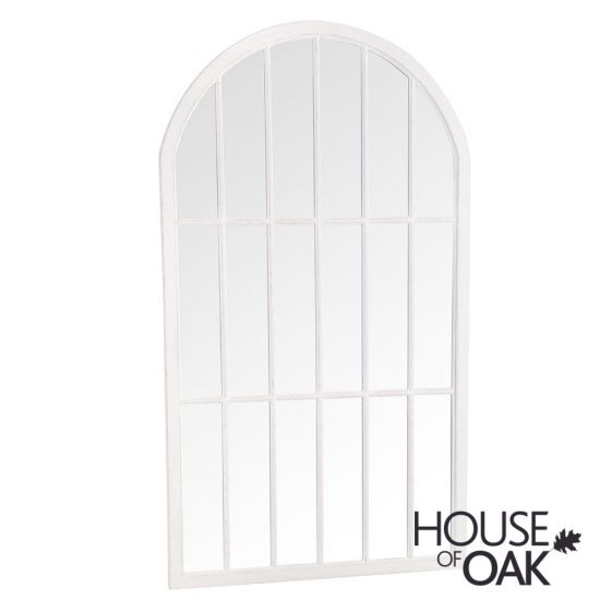Neptune Large Arched Window Mirror in White