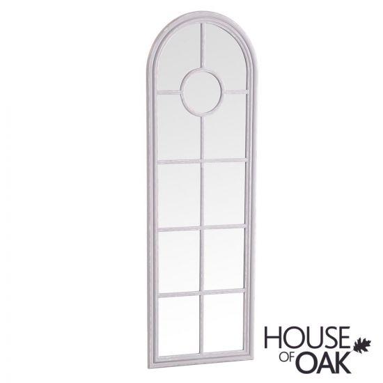 Neptune Narrow Arched Window Mirror in Grey