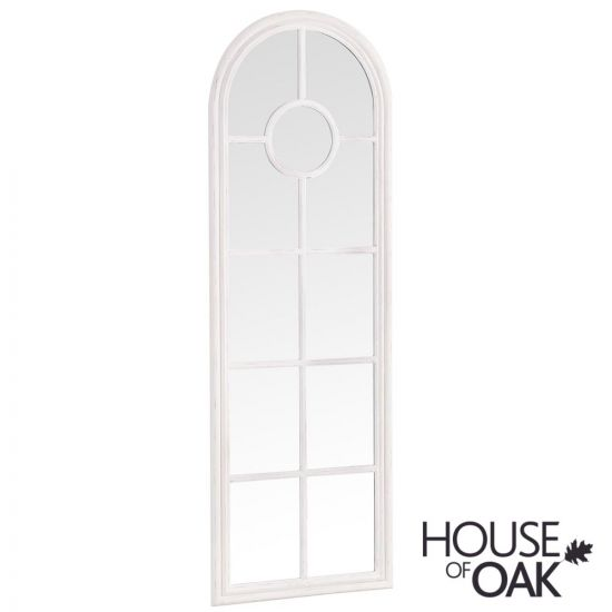 Neptune Narrow Arched Window Mirror in White