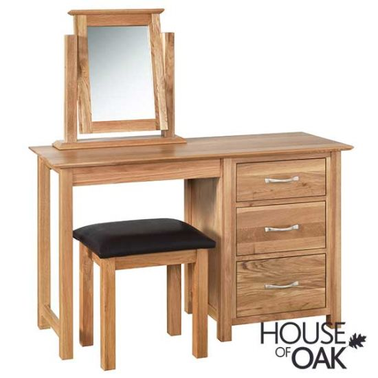 Coniston Oak Single Pedestal Dressing Table with Stool and Mirror
