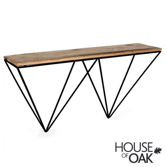 Cosgrove Reclaimed Wood Console Table with Metal Geometric Frame