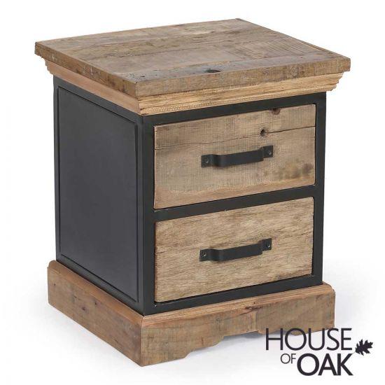 Cosgrove Reclaimed Wood & Metal 2 Drawer Side Table