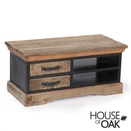 Cosgrove Reclaimed Wood & Metal 2 Drawer Coffee Table