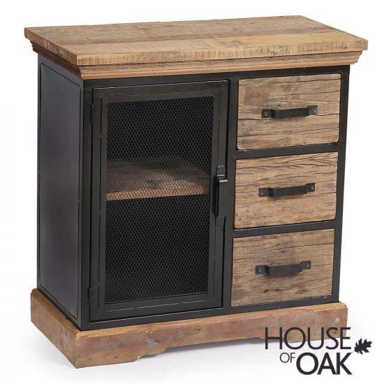 Cosgrove Reclaimed Wood 3 Drawer Cabinet with Mesh Metal Door