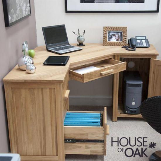Opus Solid Oak Corner Computer Desk