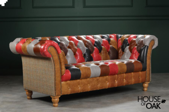 Presbury Leather Patchwork 2 Seater Sofa