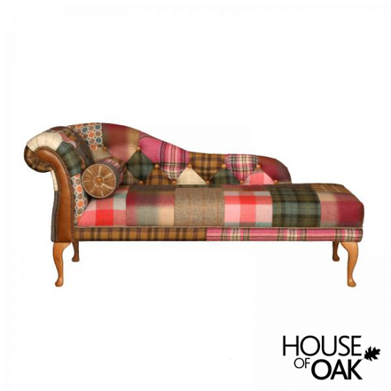 Chester Chaise - (Patchwork Button Back L/Hand Facing) Inc - Bolster Cushion Inc