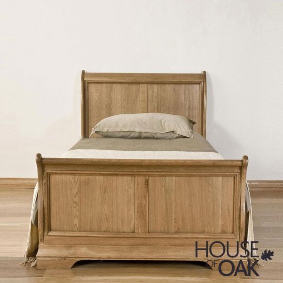 Paris Solid Oak 3ft Single Sleigh Bed