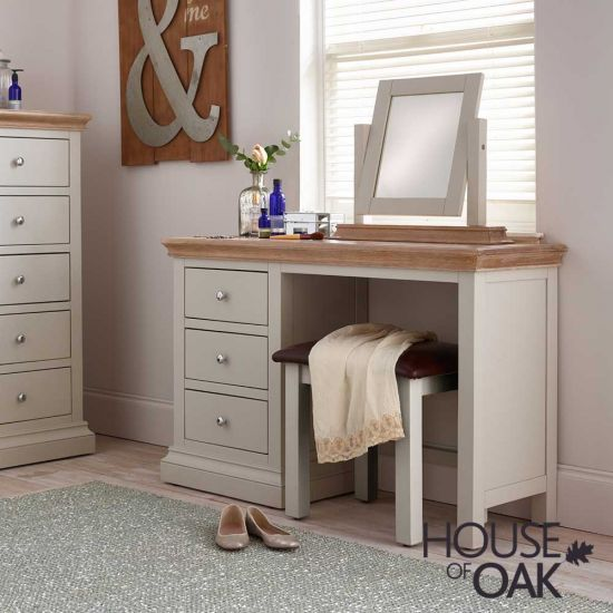 Porto Light Grey Dressing Table WITH Stool and Mirror