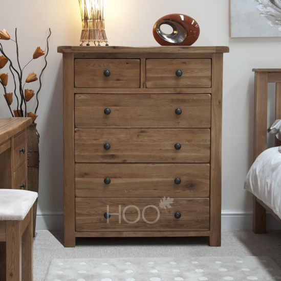 Rustic Solid Oak 2 over 4 Drawer Chest
