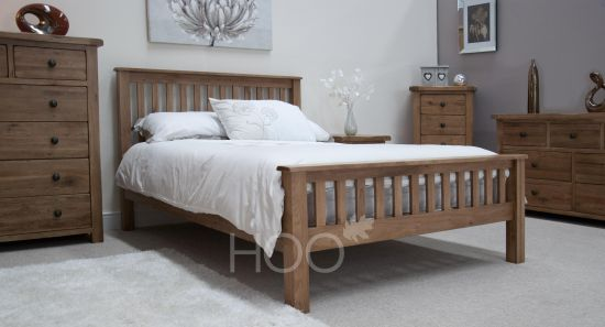 """Rustic Solid Oak 4FT 6"""" Double Bed"""