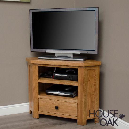 Rustic Solid Oak Corner TV Cabinet