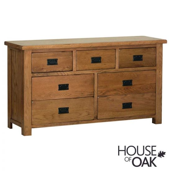 Farmhouse Oak 3+4 Wide Chest of Drawers