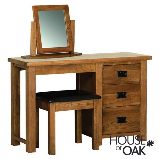 Farmhouse Oak Single Pedestal Dressing Table with Bedroom Stool and Mirror
