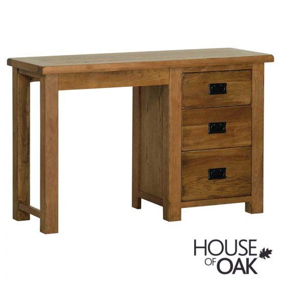 Farmhouse Oak Single Pedestal Dressing Table