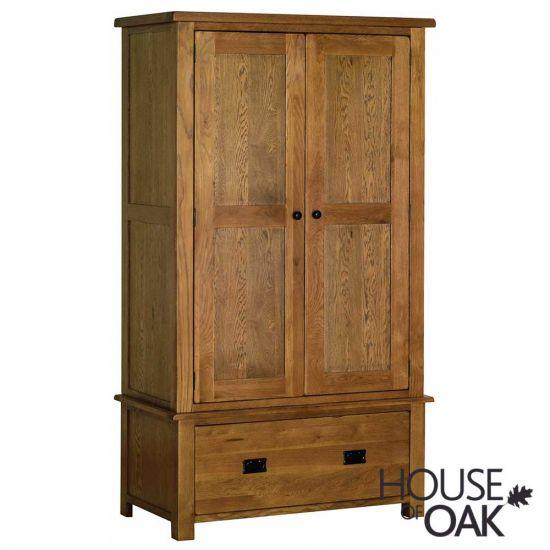 Farmhouse Oak Double Wardrobe with Drawer