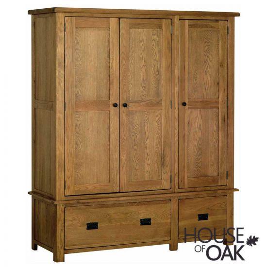 Farmhouse Oak Triple Wardrobe with Drawers