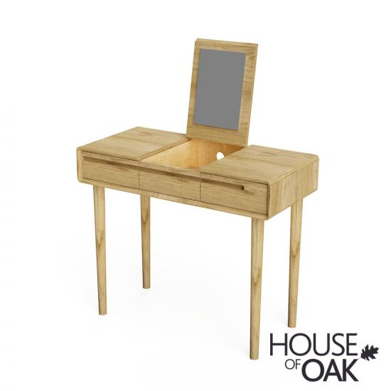 Scandic Oak Dressing Table with Integrated Mirror