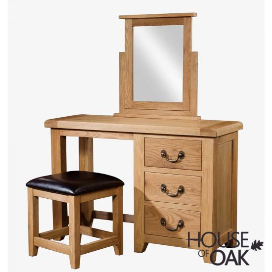 Canterbury Oak Dressing Table with Stool and Mirror