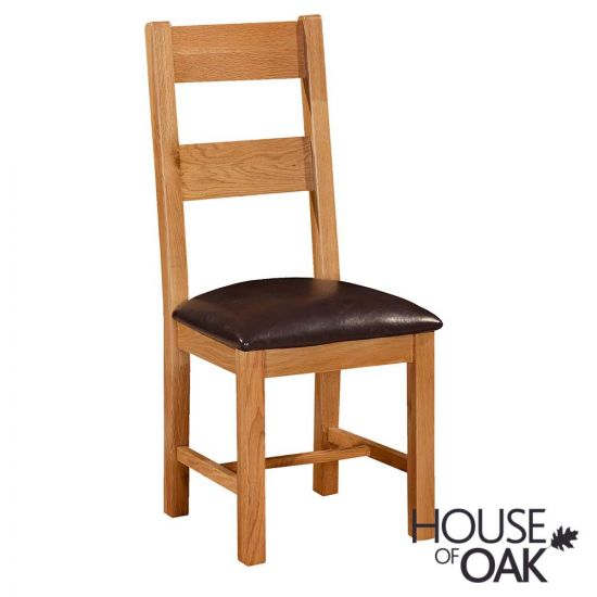 Canterbury Oak Ladderback Chair with Faux Leather Seat Pad