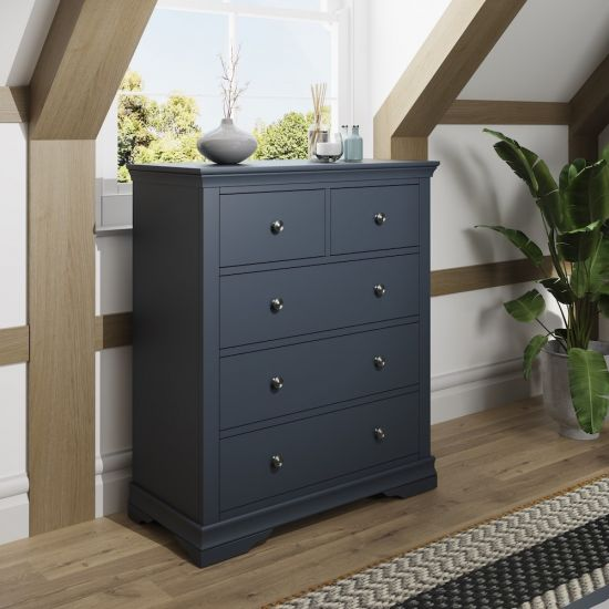 Chantilly Midnight Grey 2 Over 3 Drawer Chest