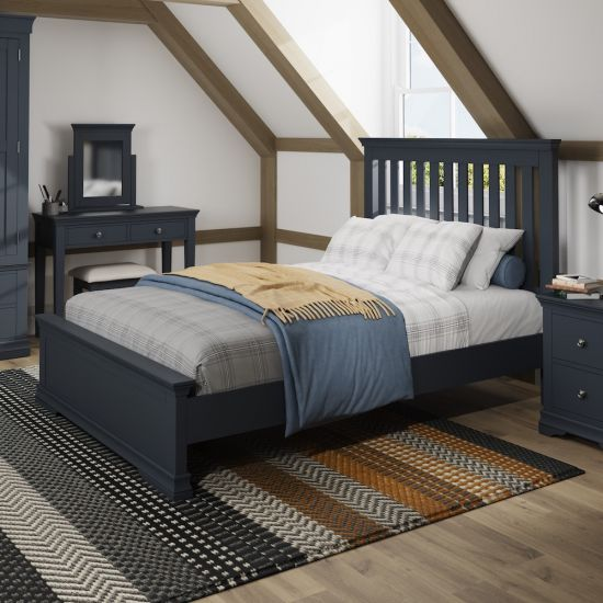 """Chantilly Midnight Grey 4FT 6"""" Double Bed"""