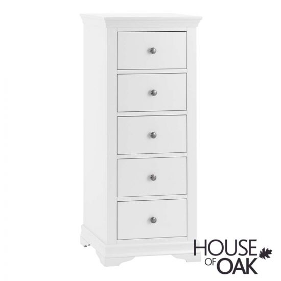 Chantilly White 5 Drawer Narrow Chest