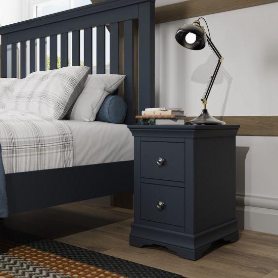 Chantilly Midnight Grey Bedside Cabinet