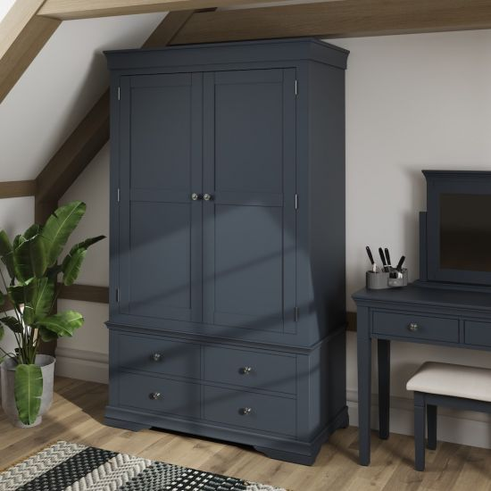 Chantilly Midnight Grey 2 Door 4 Drawer Wardrobe