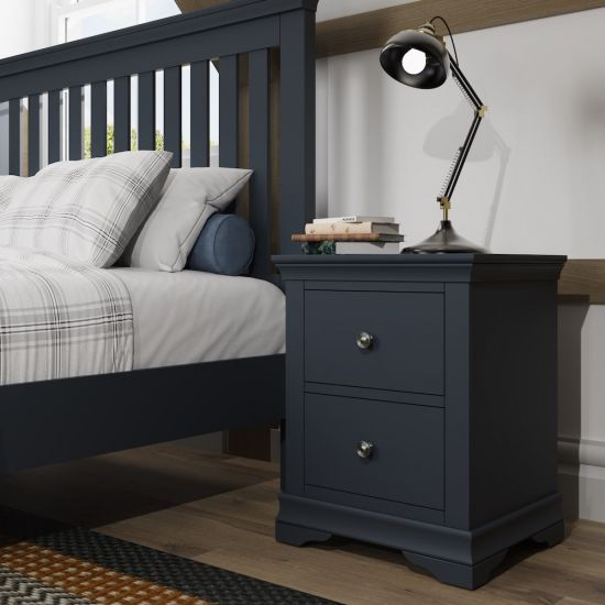 Chantilly Midnight Grey Large Bedside Cabinet