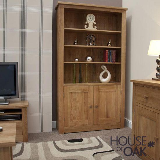 Torino Solid Oak 2 Door Bookcase