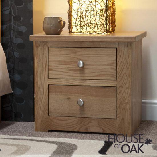 Torino Solid Oak 2 Drawer Narrow Bedside Cabinet