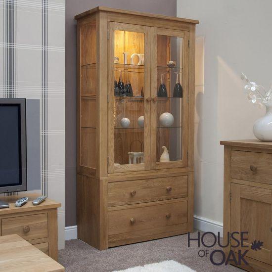 Torino Solid Oak Large Glass Display Cabinet