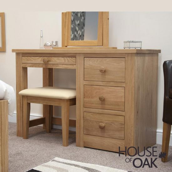 Torino Solid Oak Single Pedestal Dressing Table with Stool