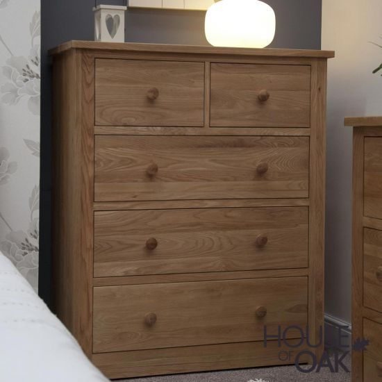 Torino Solid Oak Deep and Wide 2 Over 3 Chest of Drawers