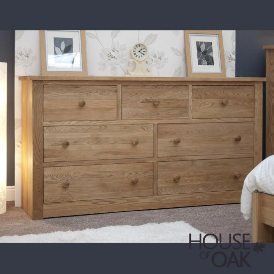 Torino Solid Oak Deep and Wide 7 Drawer Chest