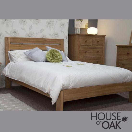 Opus Solid Oak Slatted 5FT King Size Bed