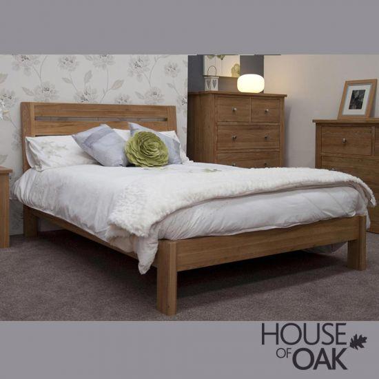 Opus Solid Oak Slatted 6FT Super King Size Bed