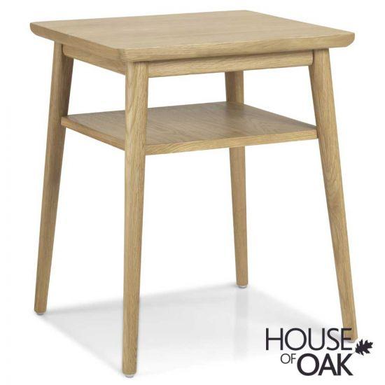 Nordic Oak Lamp Table with Shelf