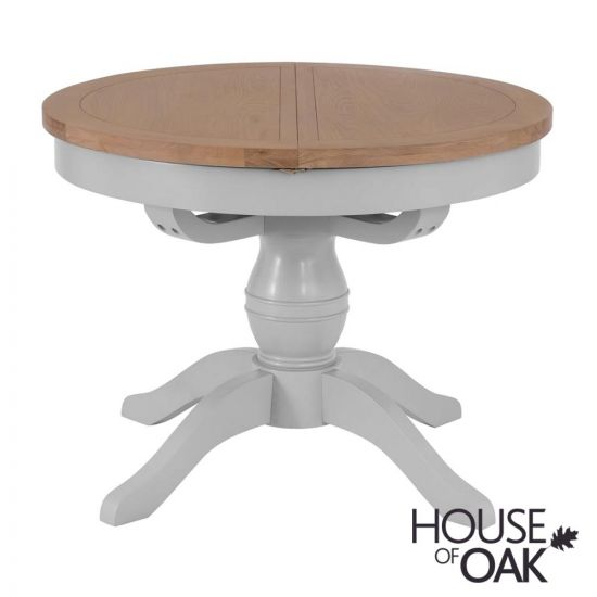 Florence Oak Round Butterfly Extending Table - Grey Painted