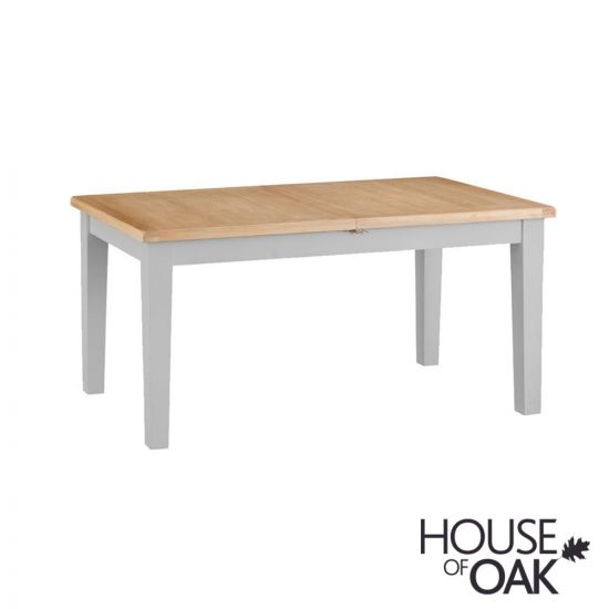 Florence Oak 1.6m Butterfly Extending Table - Grey Painted