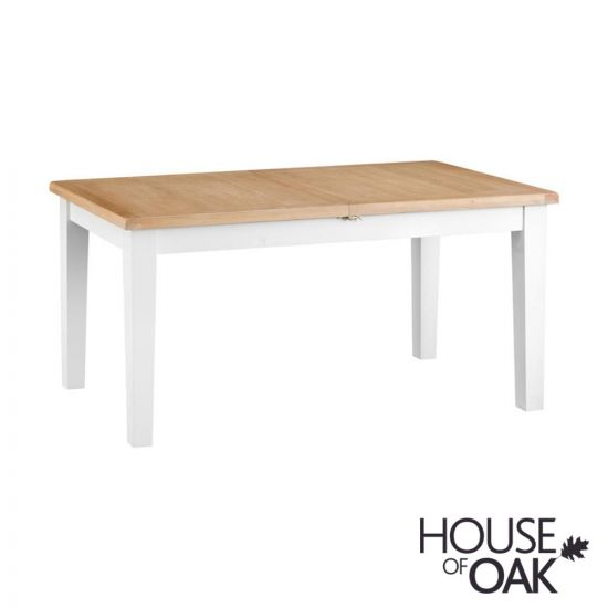 Florence Oak 1.6m Butterfly Extending Table - White Painted