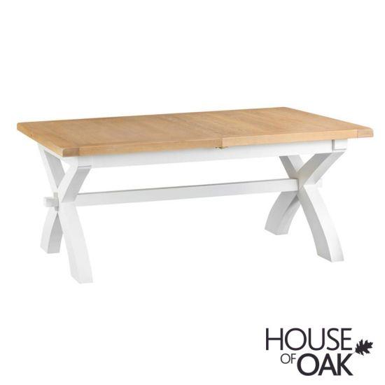 Florence Oak 1.8m Cross Extending Table - White Painted