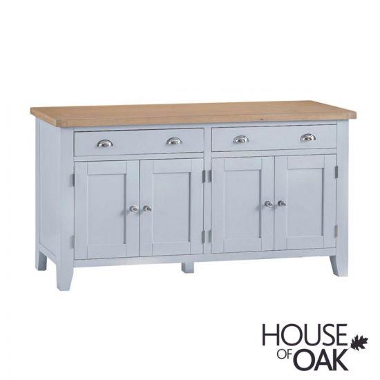 Florence Oak 4 Door Sideboard - Grey Painted
