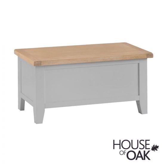Florence Oak Blanket Box - Grey Painted