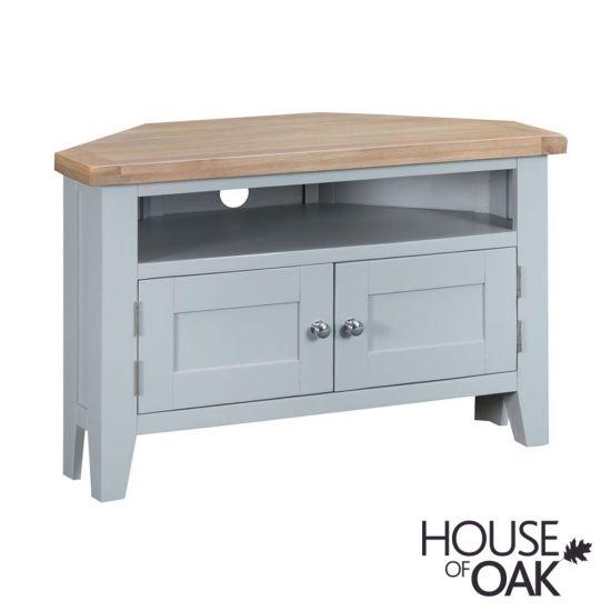 Florence Oak Corner TV Unit - Grey Painted