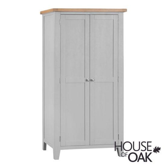 Florence Oak Full Hanging Wardrobe - Grey Painted